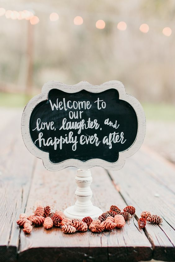 Welcome your guests with a cute woodland fairytale wedding sign. SoCal.