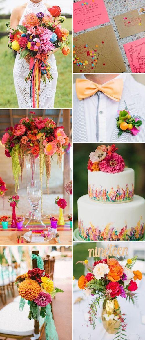 Una boda colorida en rojo, naranja, rosa, amarillo y verde. El truco esta en usarlos en moderación e intercalar un color neutro.