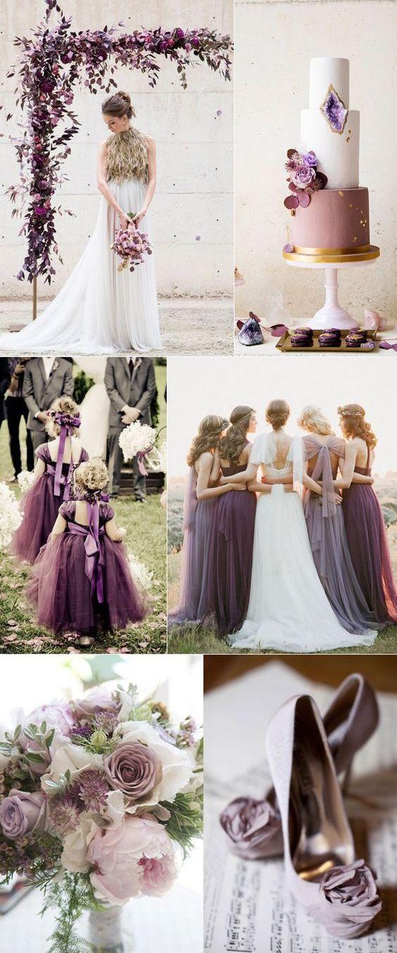 Combinación de malva, ciruela y lila. Sofisticado y simple.