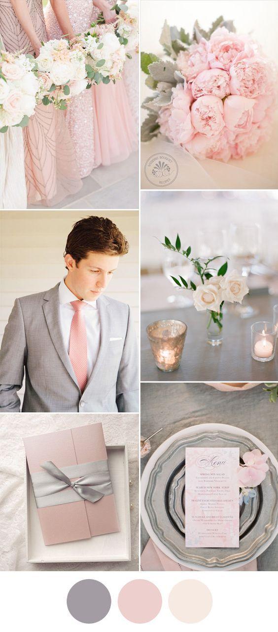 Blush, rosa y gris para una boda romántica y elegante. Deja que el rosa se destaque.