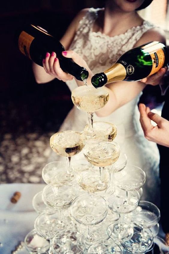 Nothing like a champagne tower to spell celebration time.