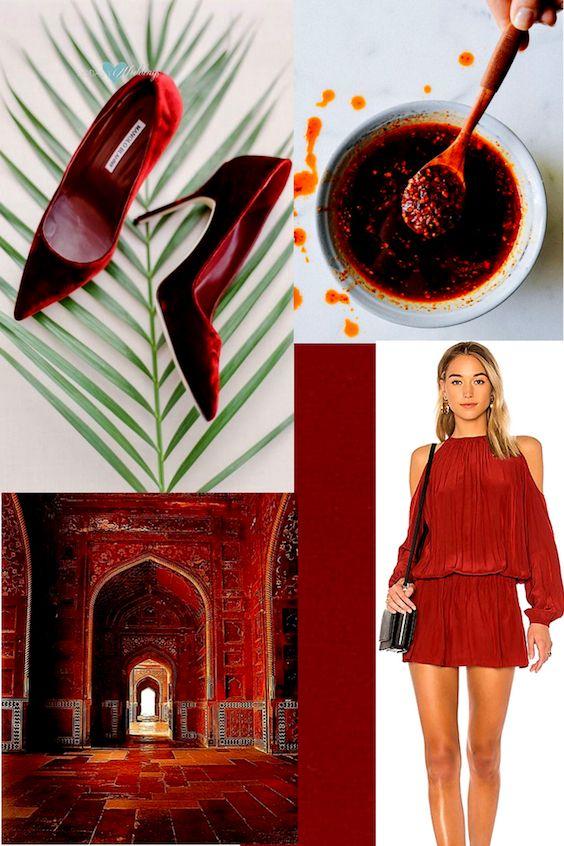De los colores para bodas 2018 de Pantone, el aceite de chile o chili oil es nuestro favorito. Manolo Blahniks. Foto Peter & Veronika.Mini-dress via Shopstyle.