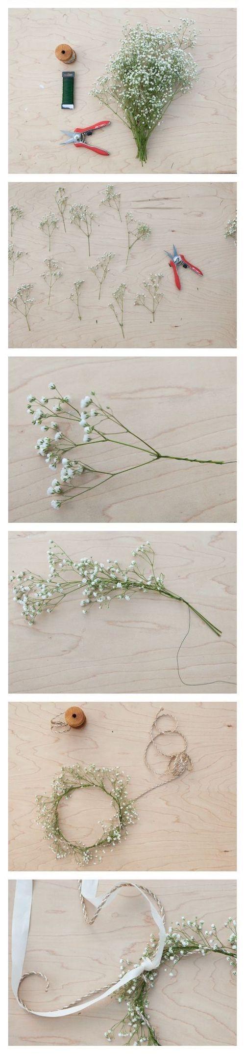 Para las que prefieren no gastar mucho en este detalle pero igual lucir increíbles: como hacer una corona de flores con gipsófilas o flores de relleno.