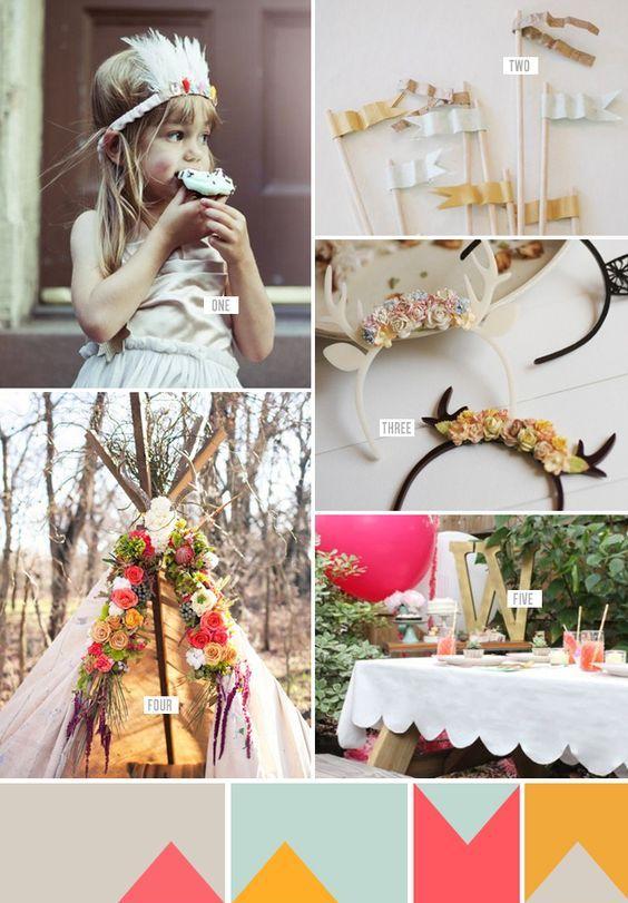 Si tu boda es boho aquí tienes unas ideas fabulosas para decorar la mesa de los niños. Erika Raxworthy Photo.