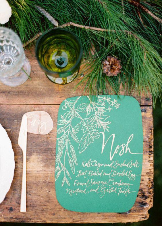 Adelántate al 2018 con invitaciones de bodas en color Arcadia. Foto: Ryan Ray Photography.