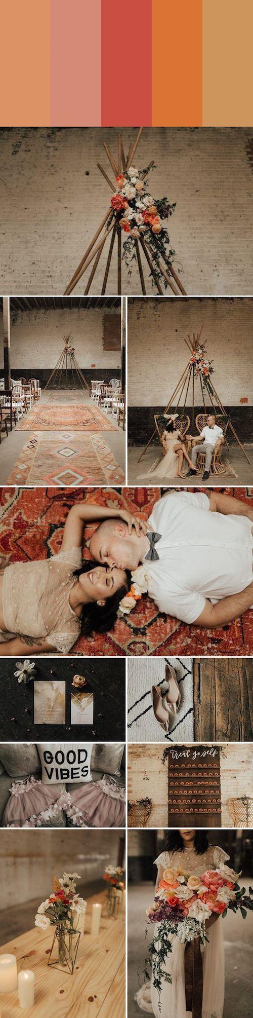 Las paletas monocromáticas te sacarán de apuros y complementan cualquier estilo de bodas. Este tono durazno, por ejemplo, para una boda boho. Foto: Lauren Nicole Photography.