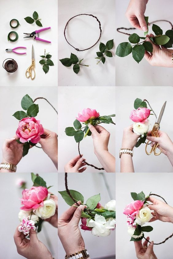Un tutorial muy sencillo para hacer una corona de flores.