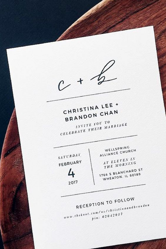 These 2018 wedding trends also translate to the stationery. Check out these minimalist wedding Invitations with thin and modern fonts by Grace Niu.
