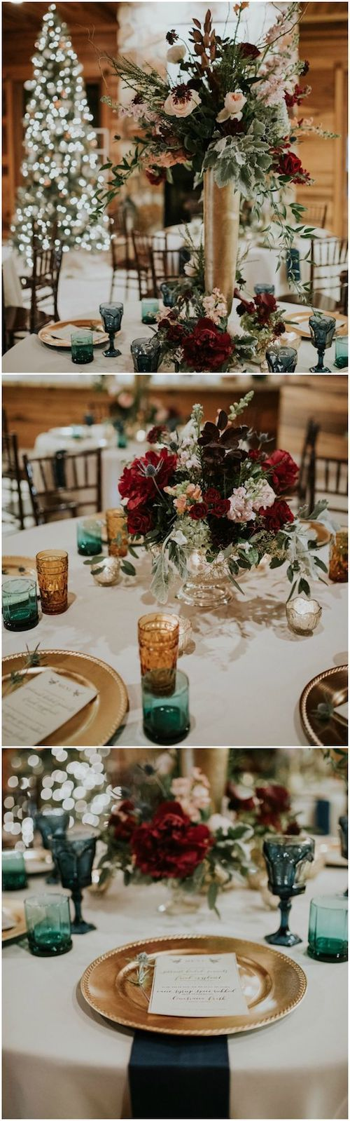 Gold chargers, green glasses, and red floral will give you the Christmas atmosphere you are looking for. Moriah Elisabeth Photography.