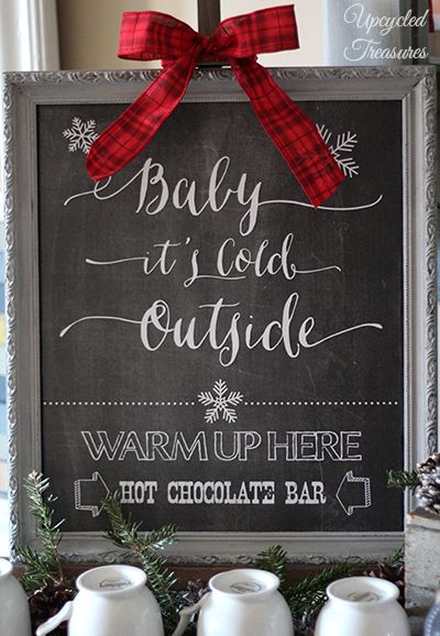 "Romantic Christmas wedding sign, ""Baby it's cold outside."""