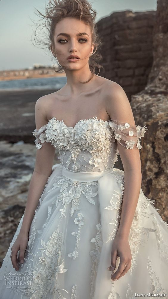 Off the shoulder sweetheart neckline Danny Mizrahi wedding dress 2018 collection.