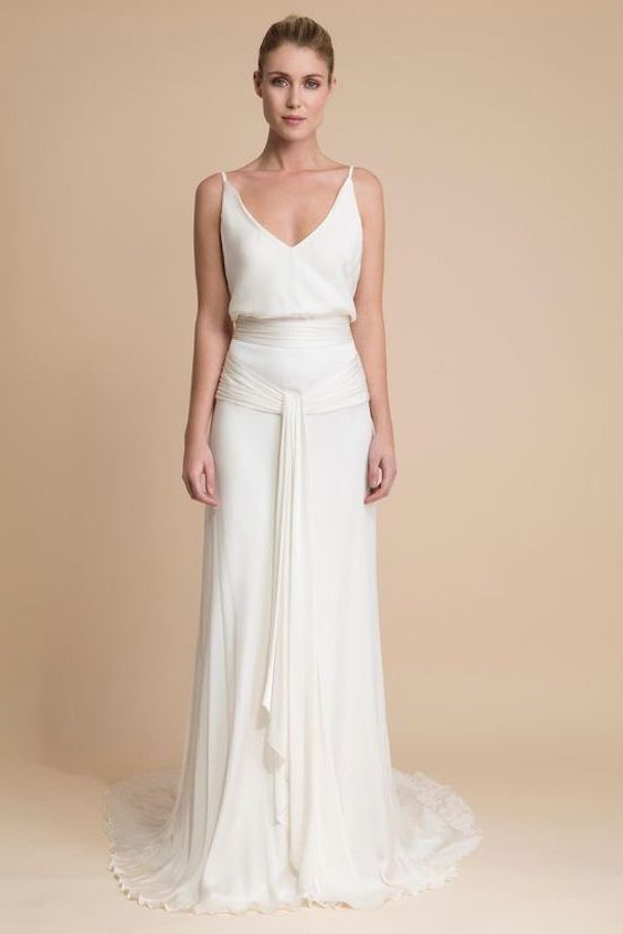 V-neck with spaghetti straps draped wedding dress by Delphine Manivet Paris.