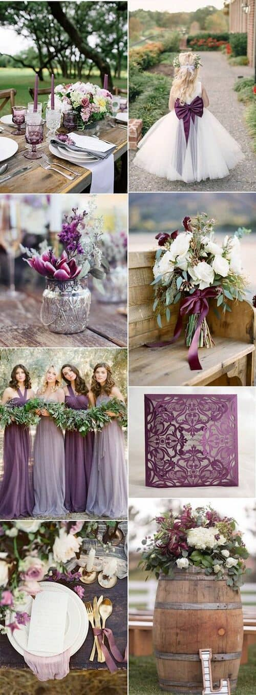 Ambienta tu boda con rosa lavanda, ciruela y ultravioleta.