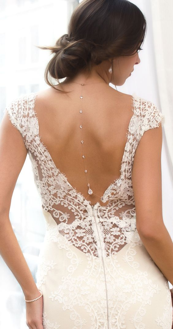 A back pendant over their exposed backs - for daring brides only.