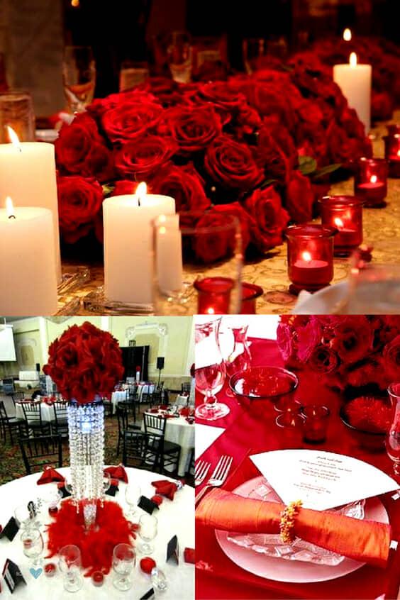 Bodas en rojo con centros de mesa fabulosos. Centros de mesa para una boda en rojo y blanco. Combina velas blancas y rojas para darle mas calidez. Boda en rojo tomate muy moderna acompañada de detalles en blanco y plateado. #Bodas #Centrosdemesa #Centrosdemesaparabodas #Decoracionparafiestas #Ideasparabodas