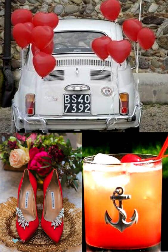Bodas en rojo en jardín. Decoración con globos rojos para la salida de la feliz pareja. Un par de Manolo Blahnik's para la novia. Sirve un Honolulu Hammer para hacer juego con tu boda en rojo.