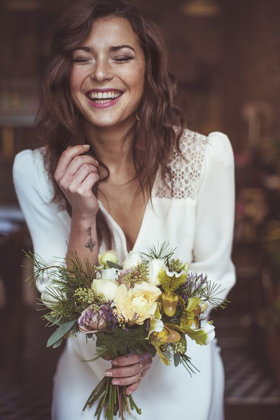Gorgeous boho folk bridal look. Camille Marciano for Junophoto.