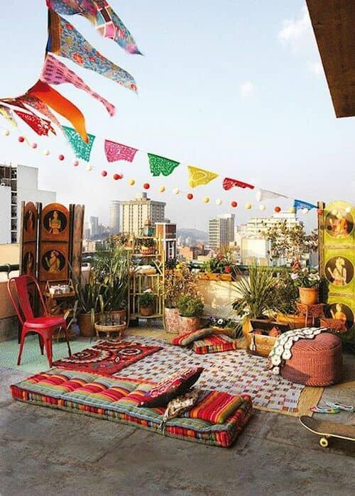 Inspírate con esta terraza boho.