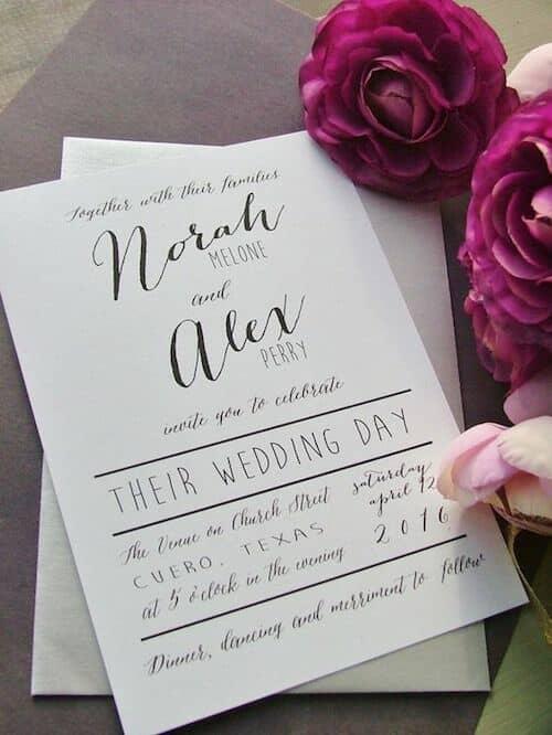 Caligrafía creativa para tus invitaciones de casamiento.
