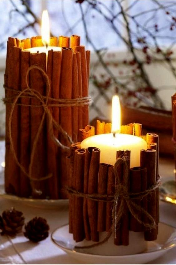 Surround your candles with cinnamon sticks and your reception will even smell like the Holiday!