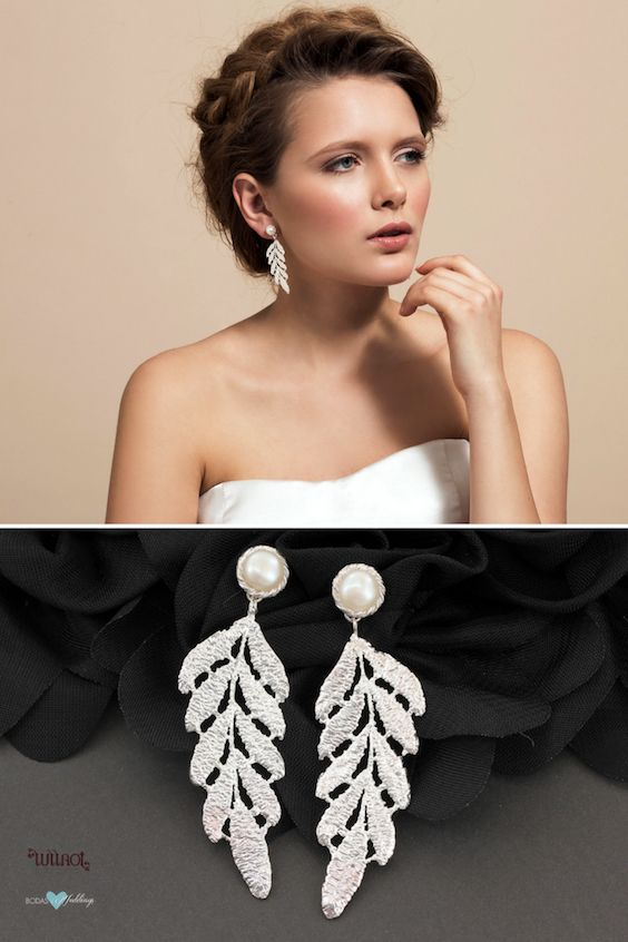 When choosing bridal jewelry consider the dress style neckline and face shape. Beautiful leaf shape statement earrings with a delicate freshwater pearl stud.