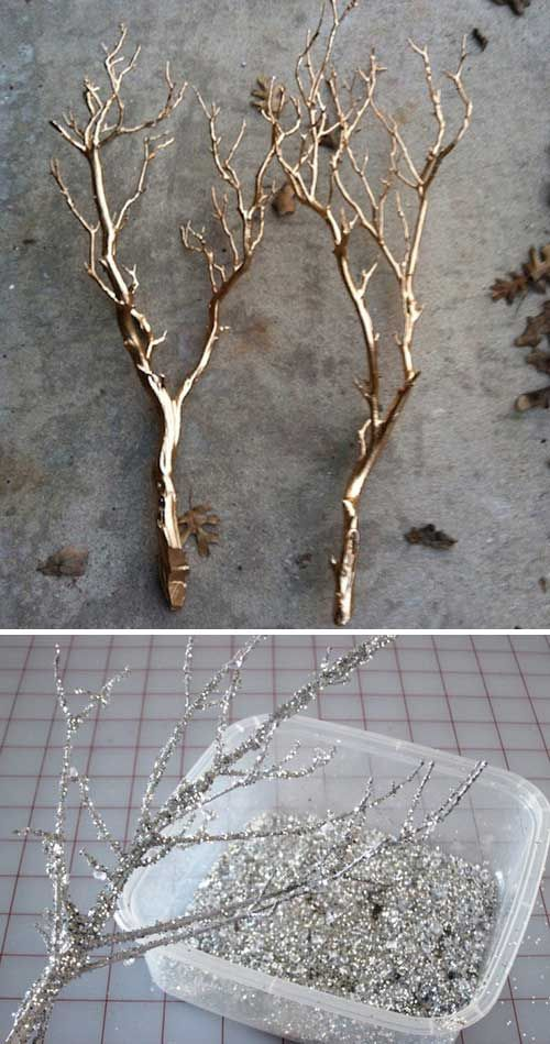 Imitate trees in winter to give your Christmas wedding just the right touch of holiday cheer. You can dip them in gold paint or silver glitter.