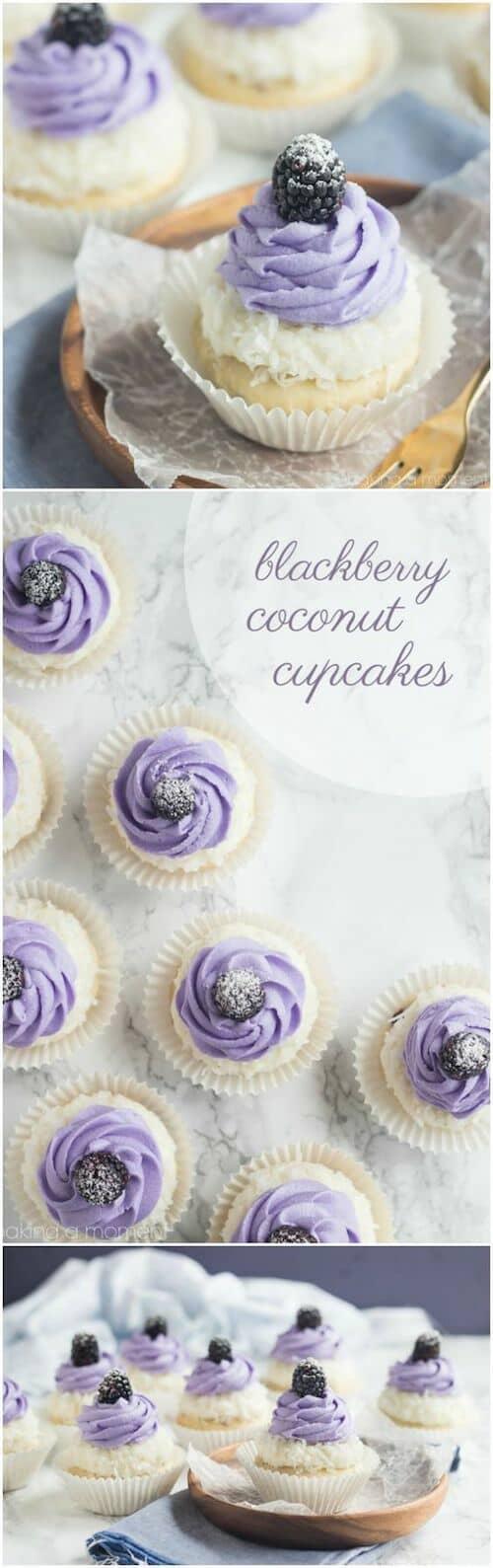 Cupcakes de coco con frambuesas para combinar con los colores de tu boda por Bakingamoment.