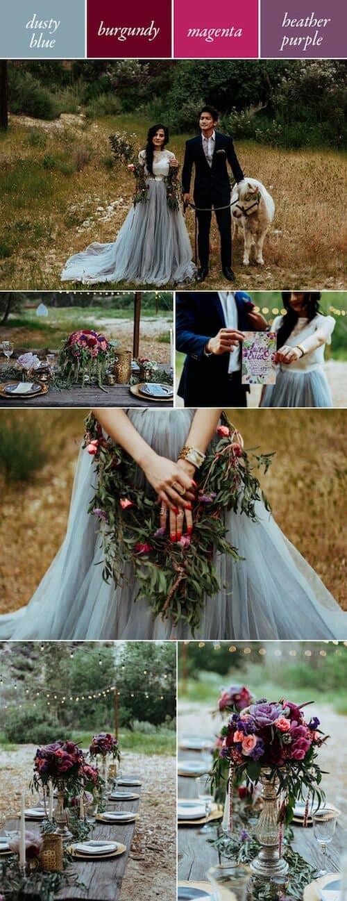 Los colores taciturnos reinan en las bodas del 2018. Combina el morado con magenta y little boy blue y olvídate de la estación del año. Chelsea Diane Photography.