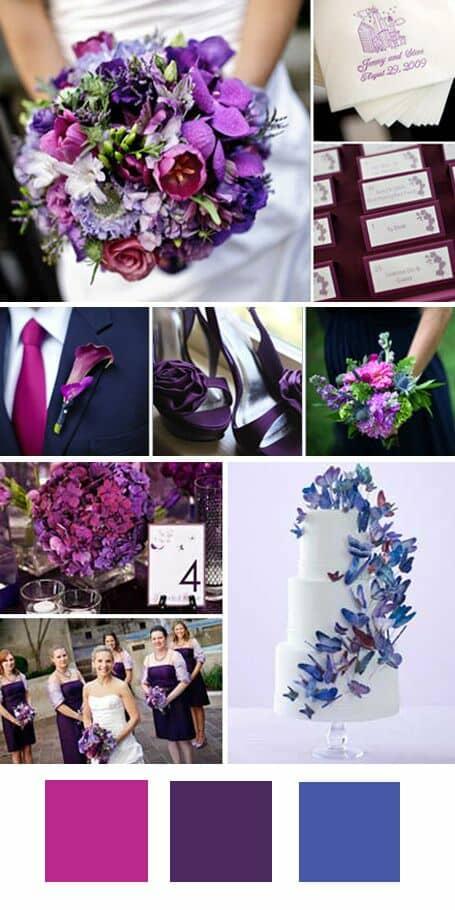 Una de las combinaciones de colores para una boda ultravioleta. Suma el spring crocus y el índigo a la recepción en un jardín.
