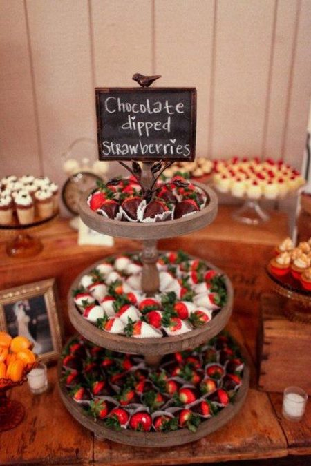 Deck out your Christmas dessert table with candy, chocolate, strawberries and more.