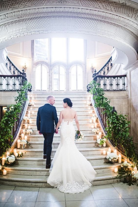 A majestic entrance to your winter wedding. Armour House Chicago Wedding, Photo: Amanda Megan Miller Photography.