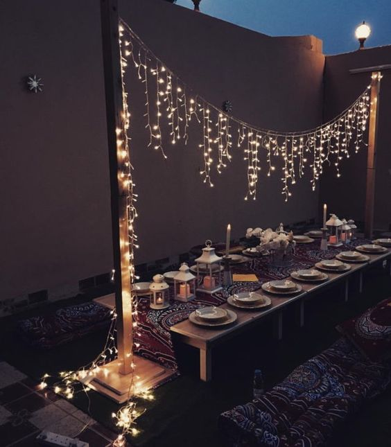 Stunning evening bridal shower. String lights go a long way in creating a magical space.
