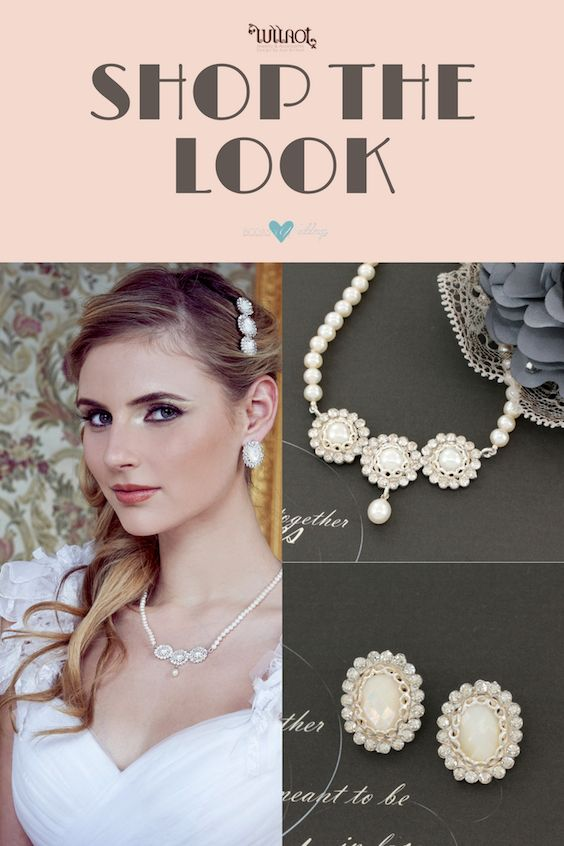 Art nouveau or Gatsby style wedding jewelry set.