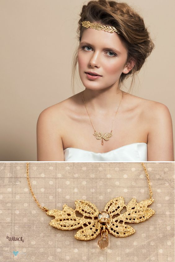 Unique filigreed branch leaves design featuring a tiny Swarovski tear drop by Aya Birman. 24k gold plated.