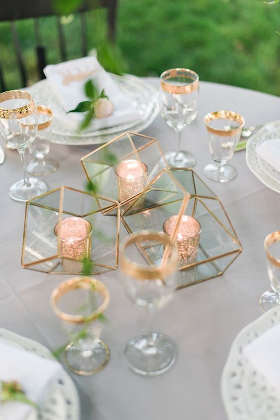 Geometric containers, gold votives and vintage plates in a garden where industrial meets romance. Kathryn Ivy Photography.