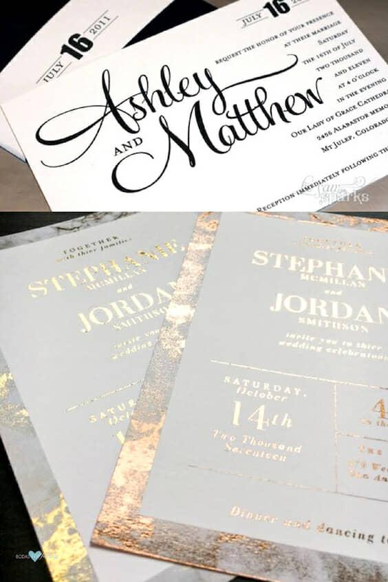 Tarjeta de bodas imprimible, para lucir fab y ahorrar en las invitaciones, Un borde imitación mármol y cobre para seguir las tendencias en invitaciones de boda del 2018.