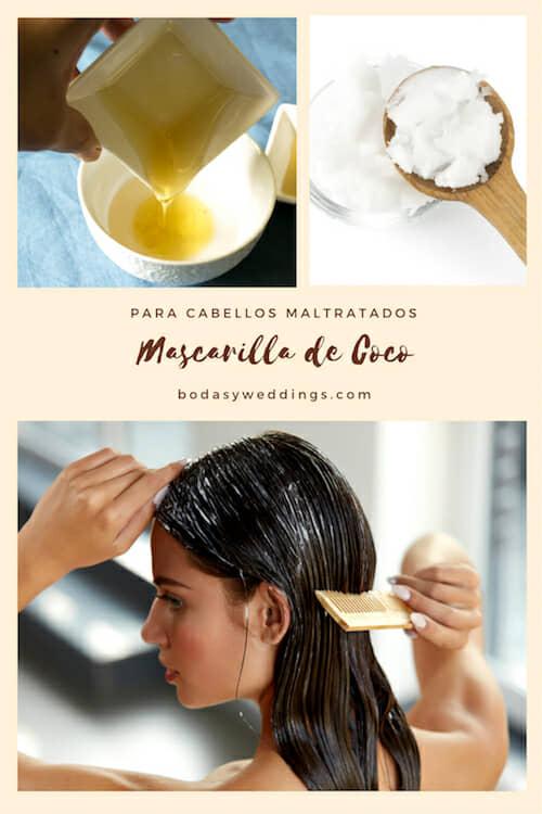 Mascarillas para el cabello seco: mascarilla con aceite de coco para cabellos maltratados.
