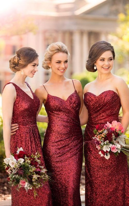 Dark red florals and sequined bridesmaids dresses by Sorella Vita.