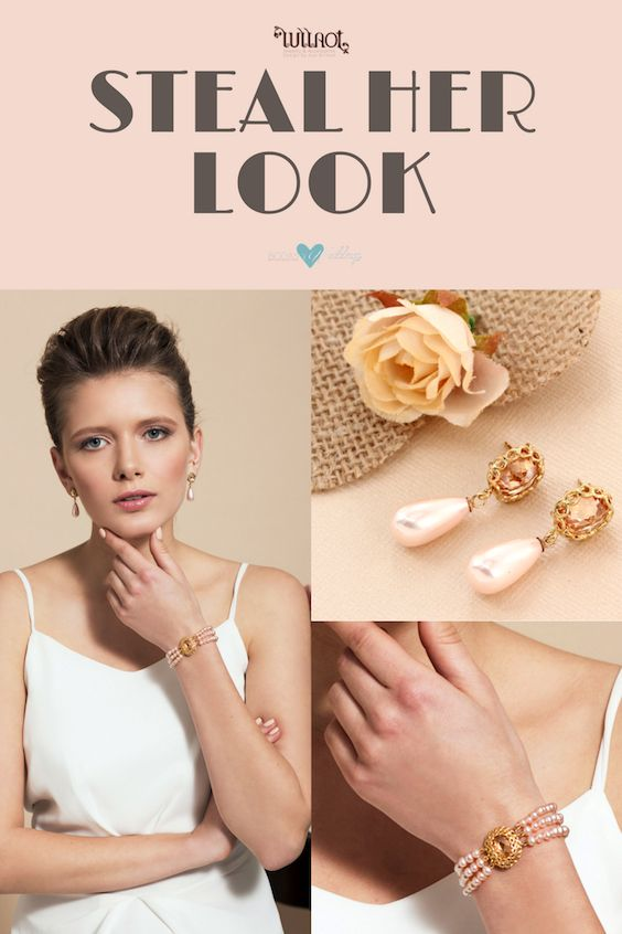 Classic three strand pink peach pearl bracelet paired with Majorca pearl earrings.