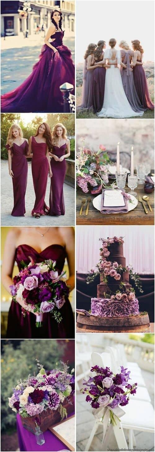 Ultravioleta, ciruela y spring crocus para una boda regia.