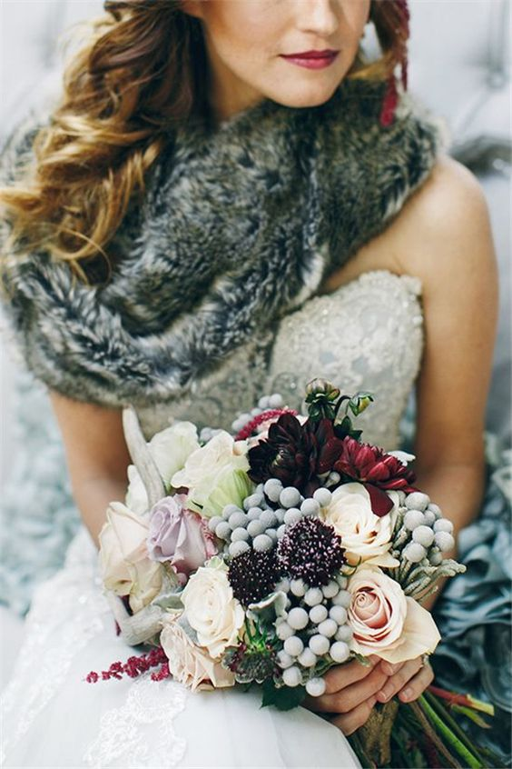 Mix floral and non-floral elements to create your winter wedding bouquet.