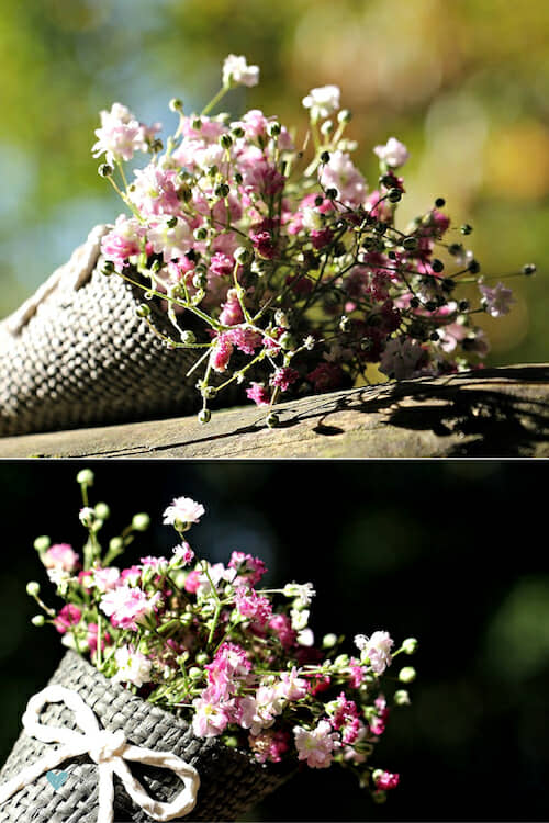 Lovely rustic DIY with baby's breath. The tutorial is on the blog.