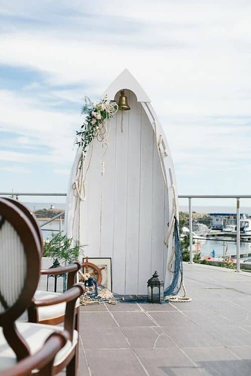 For a beach wedding an outstanding and uncanny boat photo booth.