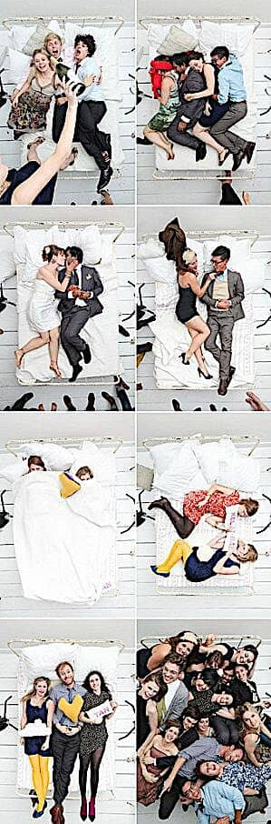 You've got to very be daring to use a bed as a photo booth backdrop. But it looks fun, right? Jacob Pritchard Photography and Tanveer Badal Photography.