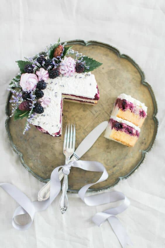 Delight your forest wedding guests with this blackberry lavender cake.
