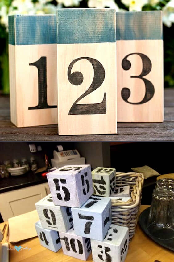 Cafe and wood block table numbers.