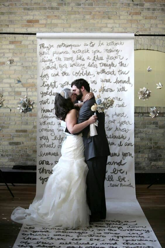 This backdrop can serve both at the ceremony and the photo booth.