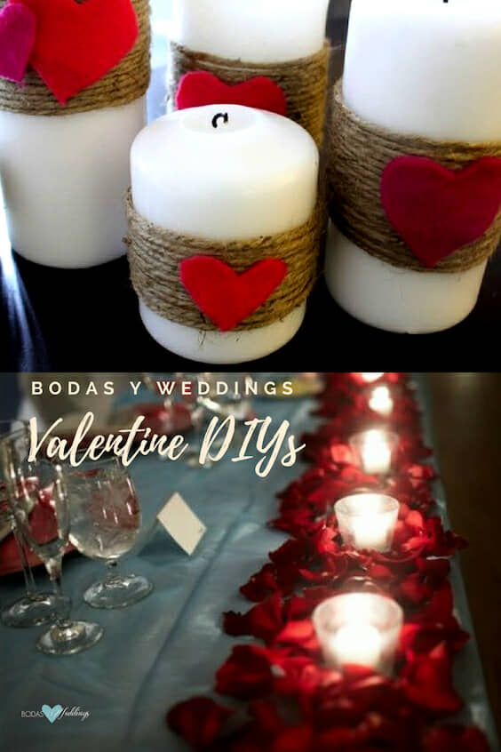 Be it as a gift or as hallway decor candles are a great and easy Valentine's day craft.