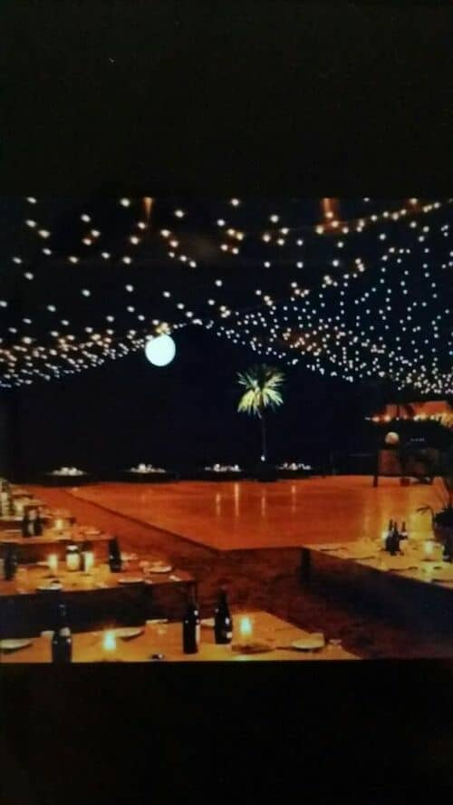 Magical beach wedding reception lightning ideas.
