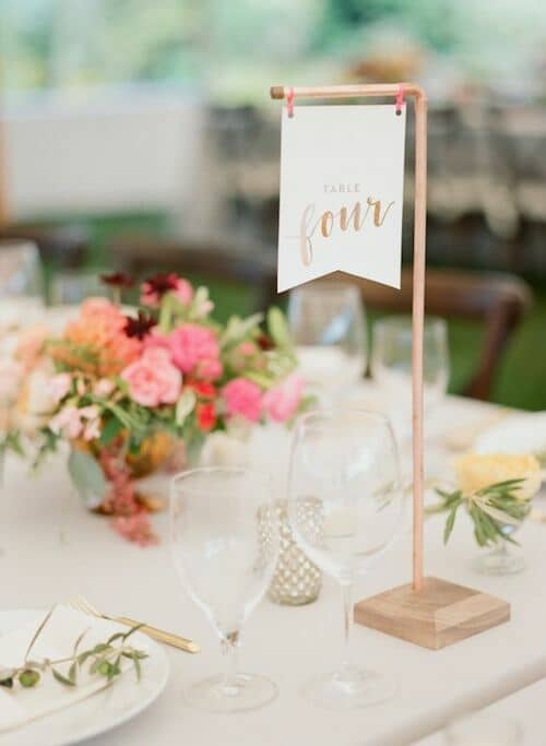 Flag table numbers. Photo: Ruth Eileen Photography.